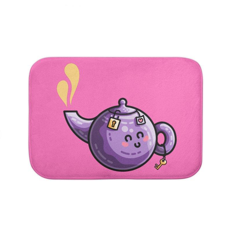 Kawaii Cute Safe-Tea Pun Home Bath Mat by Flaming Imp's Artist Shop