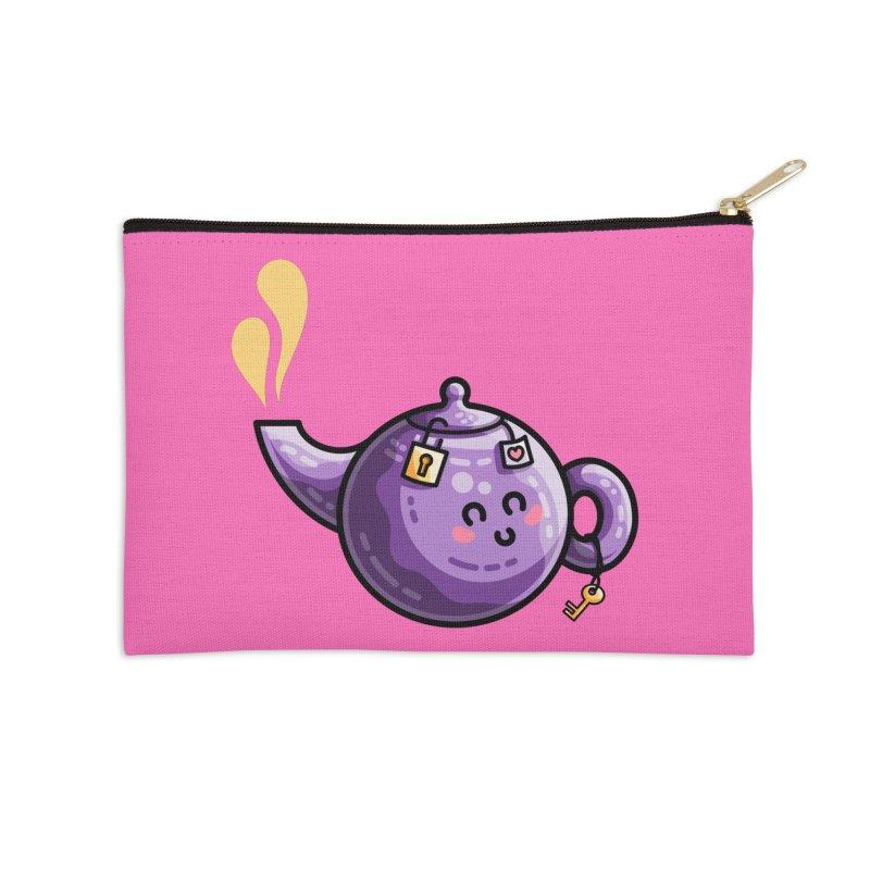 Kawaii Cute Safe-Tea Pun Accessories Zip Pouch by Flaming Imp's Artist Shop