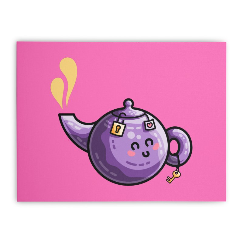 Kawaii Cute Safe-Tea Pun Home Stretched Canvas by Flaming Imp's Artist Shop