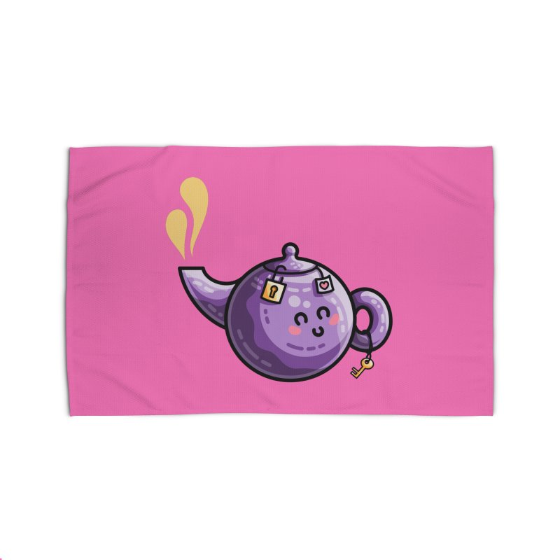 Kawaii Cute Safe-Tea Pun Home Rug by Flaming Imp's Artist Shop