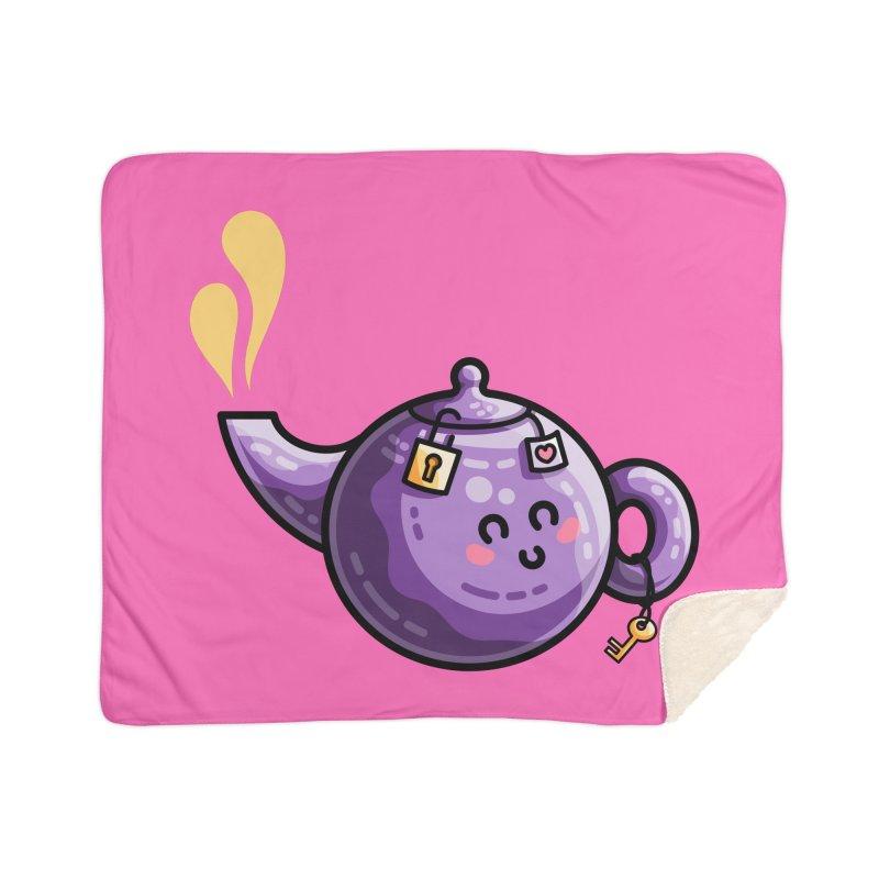 Kawaii Cute Safe-Tea Pun Home Sherpa Blanket Blanket by Flaming Imp's Artist Shop