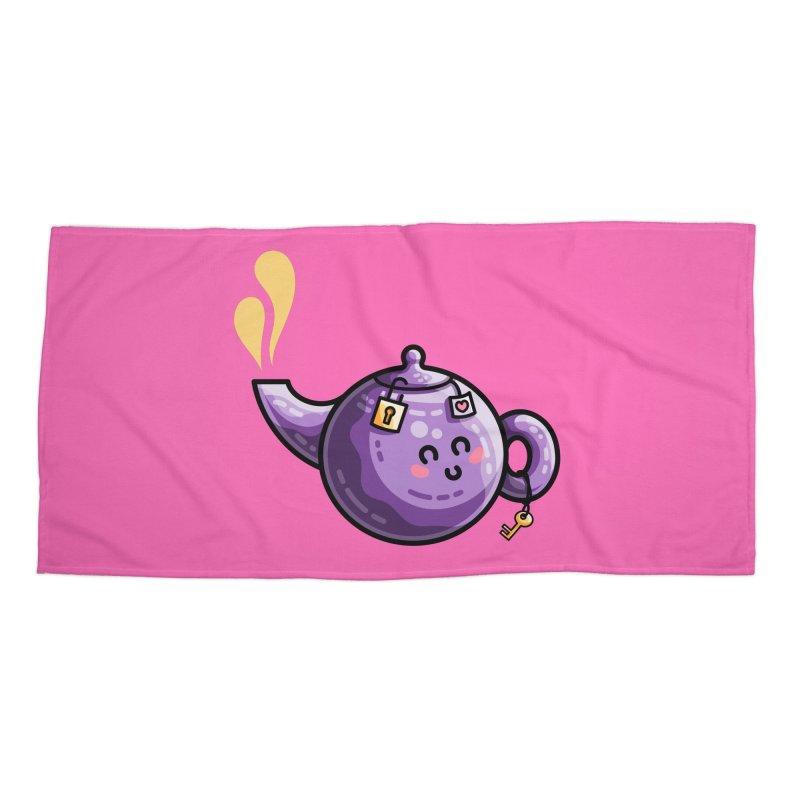 Kawaii Cute Safe-Tea Pun Accessories Beach Towel by Flaming Imp's Artist Shop