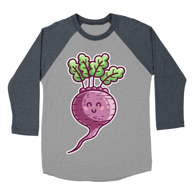 Kawaii Cute Beetroot Men's Baseball Triblend Longsleeve T-Shirt by Flaming Imp's Artist Shop