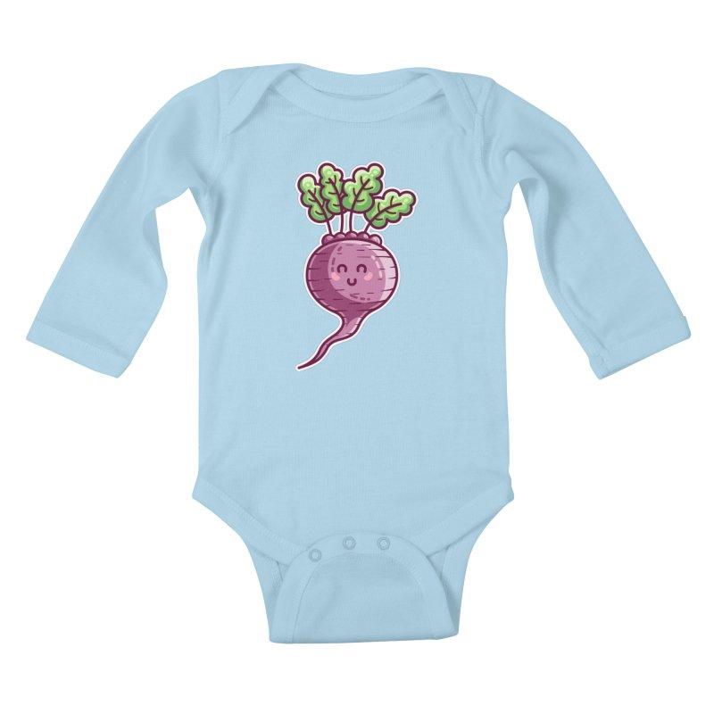 Kawaii Cute Beetroot Kids Baby Longsleeve Bodysuit by Flaming Imp's Artist Shop