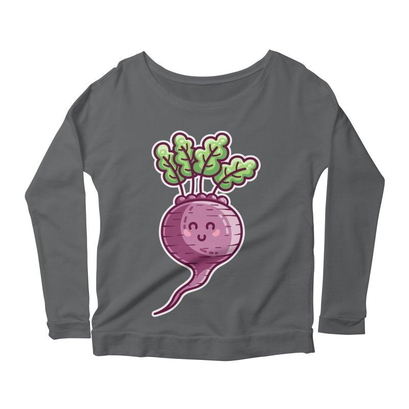 Kawaii Cute Beetroot Women's Scoop Neck Longsleeve T-Shirt by Flaming Imp's Artist Shop