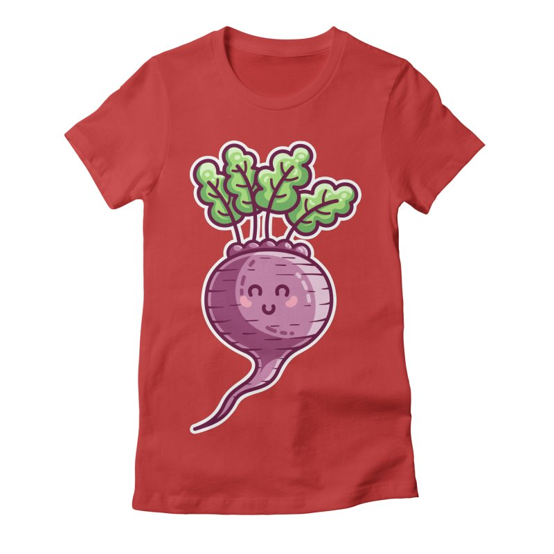 Kawaii Cute Beetroot Women's Fitted T-Shirt by Flaming Imp's Artist Shop