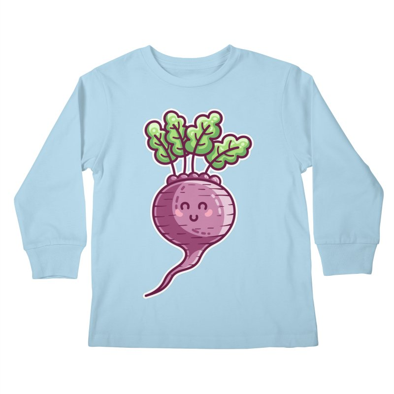 Kawaii Cute Beetroot Kids Longsleeve T-Shirt by Flaming Imp's Artist Shop