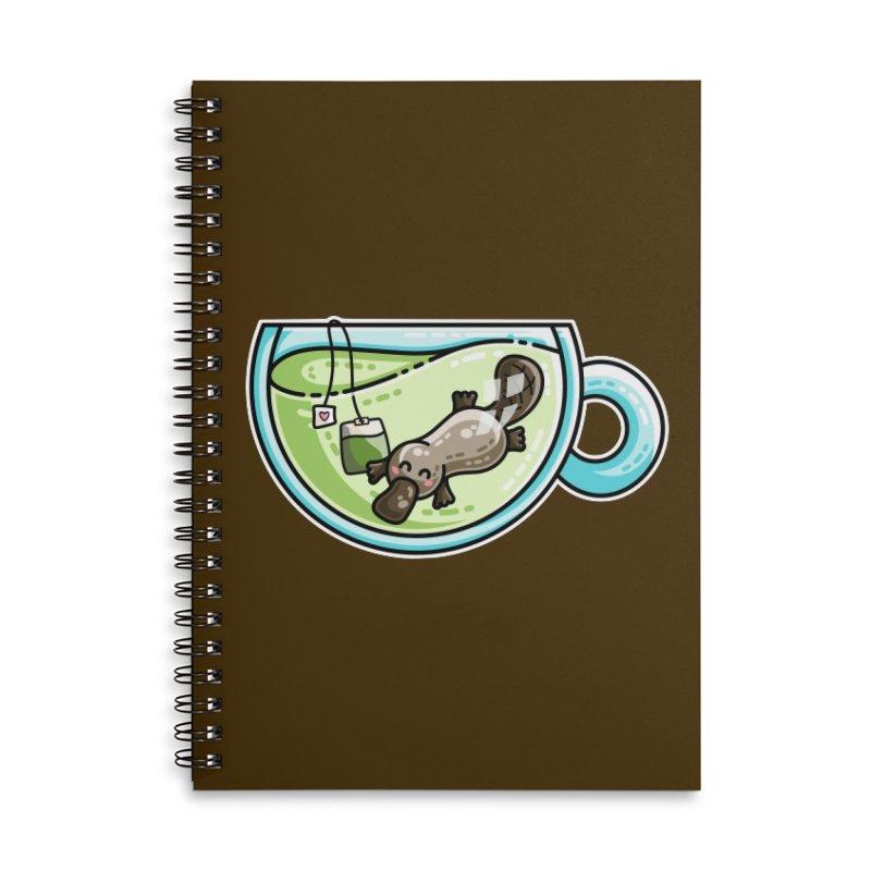 Pla-tea-pus Kawaii Cute Platypus Tea Pun Accessories Lined Spiral Notebook by Flaming Imp's Artist Shop