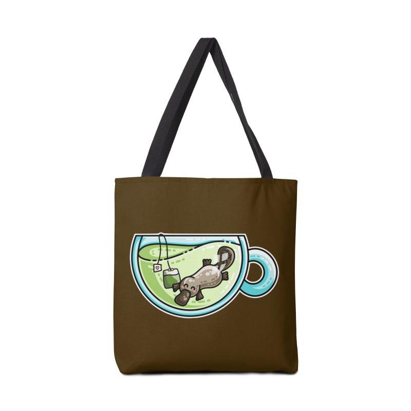 Pla-tea-pus Kawaii Cute Platypus Tea Pun Accessories Tote Bag Bag by Flaming Imp's Artist Shop