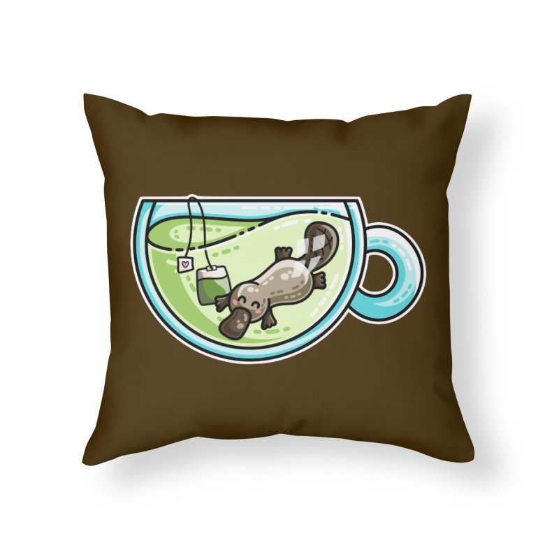 Pla-tea-pus Kawaii Cute Platypus Tea Pun Home Throw Pillow by Flaming Imp's Artist Shop