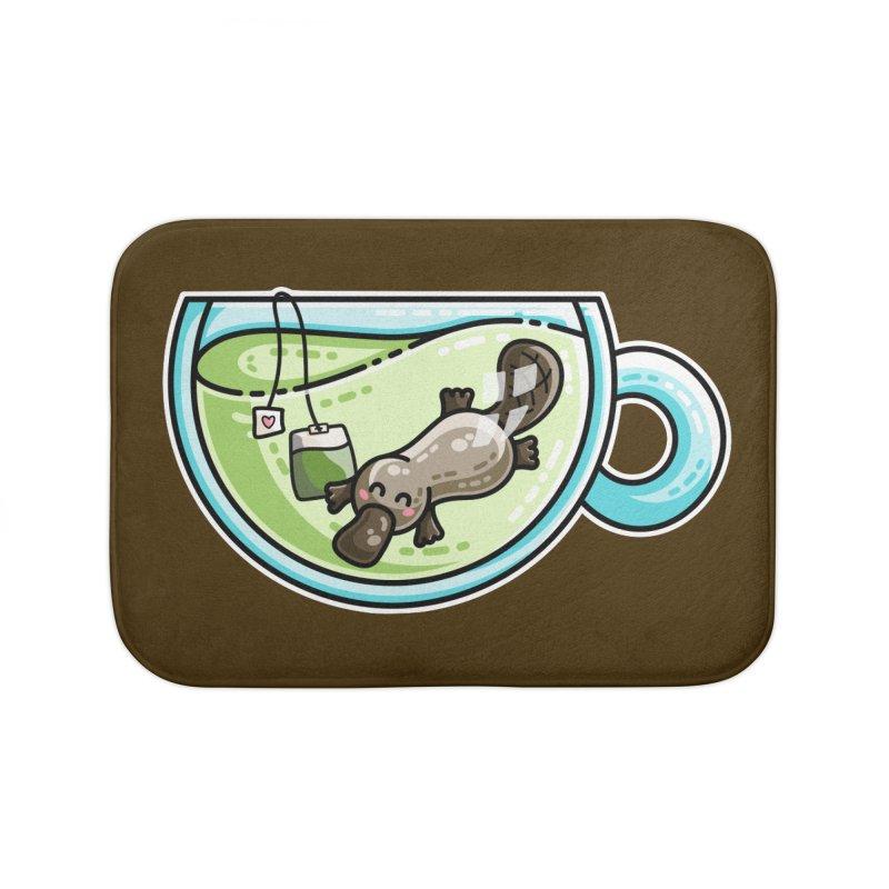 Pla-tea-pus Kawaii Cute Platypus Tea Pun Home Bath Mat by Flaming Imp's Artist Shop