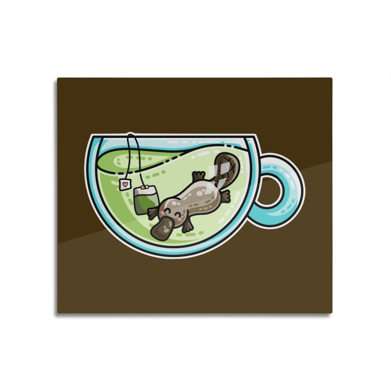 Pla-tea-pus Kawaii Cute Platypus Tea Pun Home Mounted Aluminum Print by Flaming Imp's Artist Shop