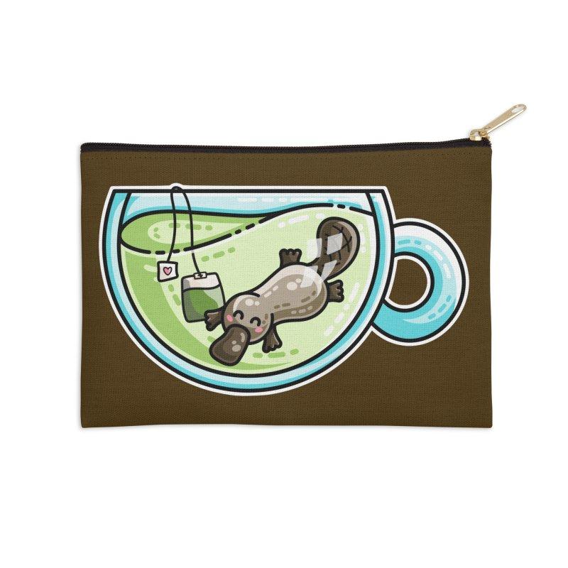 Pla-tea-pus Kawaii Cute Platypus Tea Pun Accessories Zip Pouch by Flaming Imp's Artist Shop