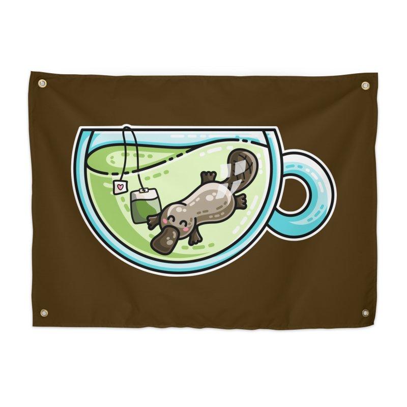Pla-tea-pus Kawaii Cute Platypus Tea Pun Home Tapestry by Flaming Imp's Artist Shop