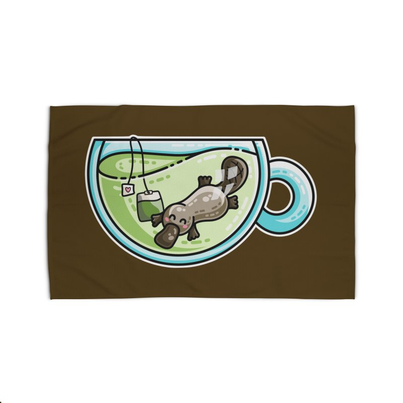 Pla-tea-pus Kawaii Cute Platypus Tea Pun Home Rug by Flaming Imp's Artist Shop