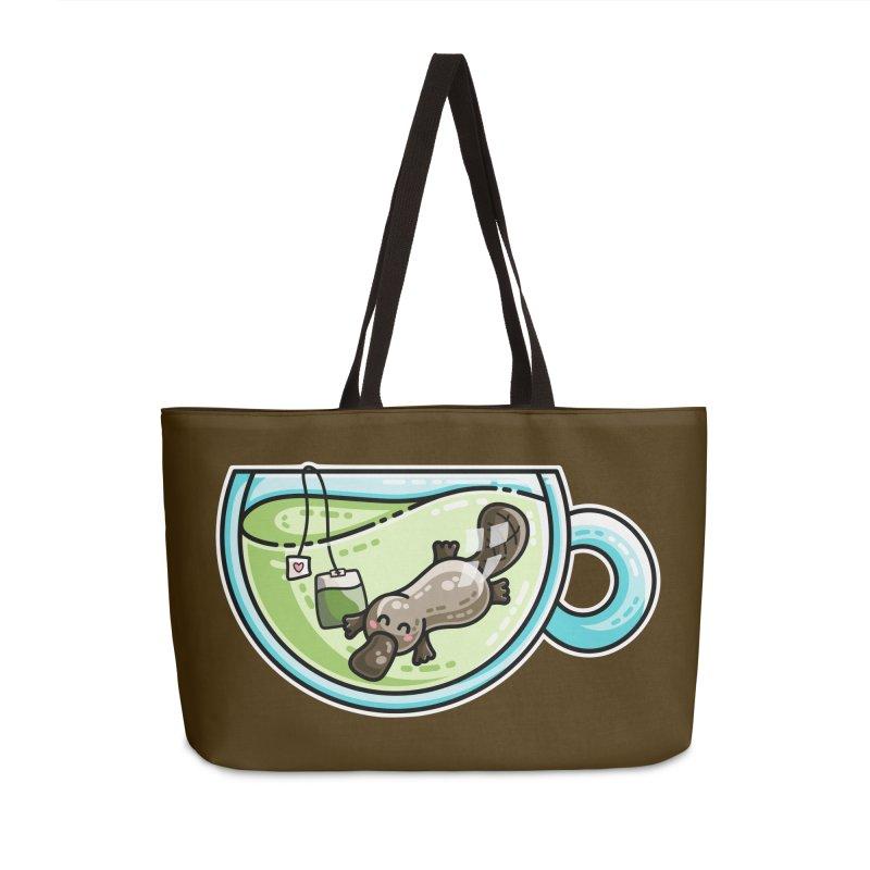 Pla-tea-pus Kawaii Cute Platypus Tea Pun Accessories Weekender Bag Bag by Flaming Imp's Artist Shop
