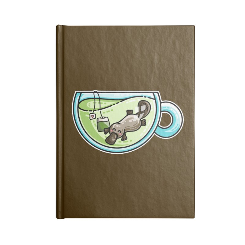 Pla-tea-pus Kawaii Cute Platypus Tea Pun Accessories Notebook by Flaming Imp's Artist Shop