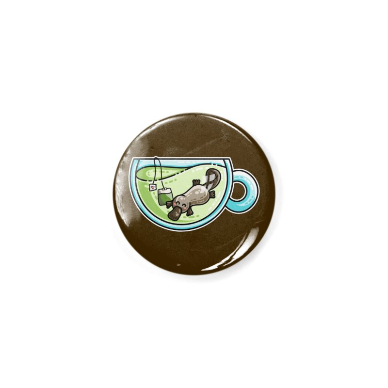 Pla-tea-pus Kawaii Cute Platypus Tea Pun Accessories Button by Flaming Imp's Artist Shop