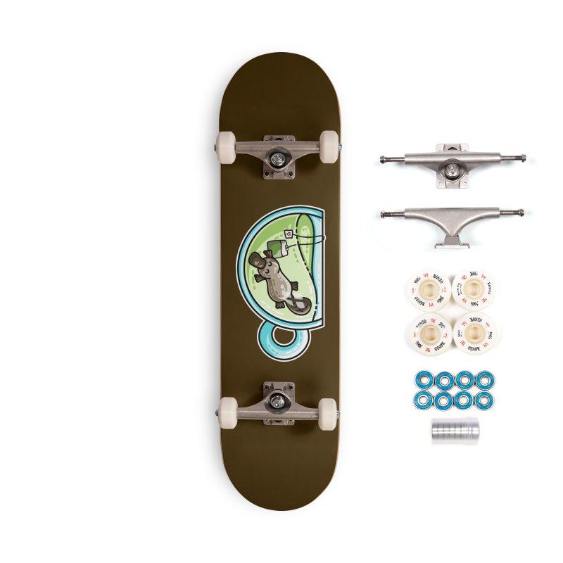 Pla-tea-pus Kawaii Cute Platypus Tea Pun Accessories Complete - Premium Skateboard by Flaming Imp's Artist Shop