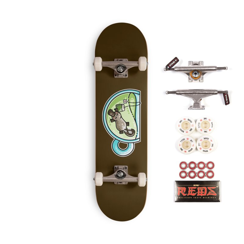 Pla-tea-pus Kawaii Cute Platypus Tea Pun Accessories Complete - Pro Skateboard by Flaming Imp's Artist Shop