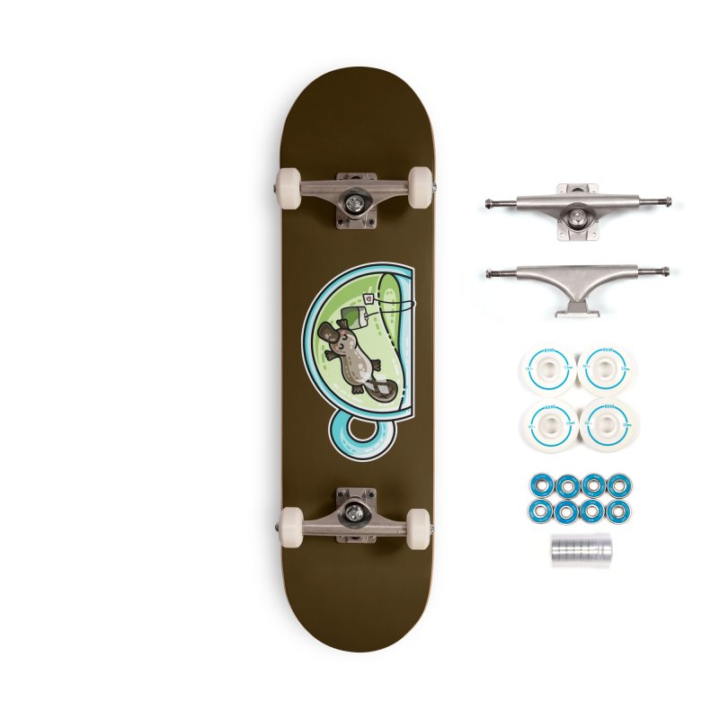 Pla-tea-pus Kawaii Cute Platypus Tea Pun Accessories Complete - Basic Skateboard by Flaming Imp's Artist Shop