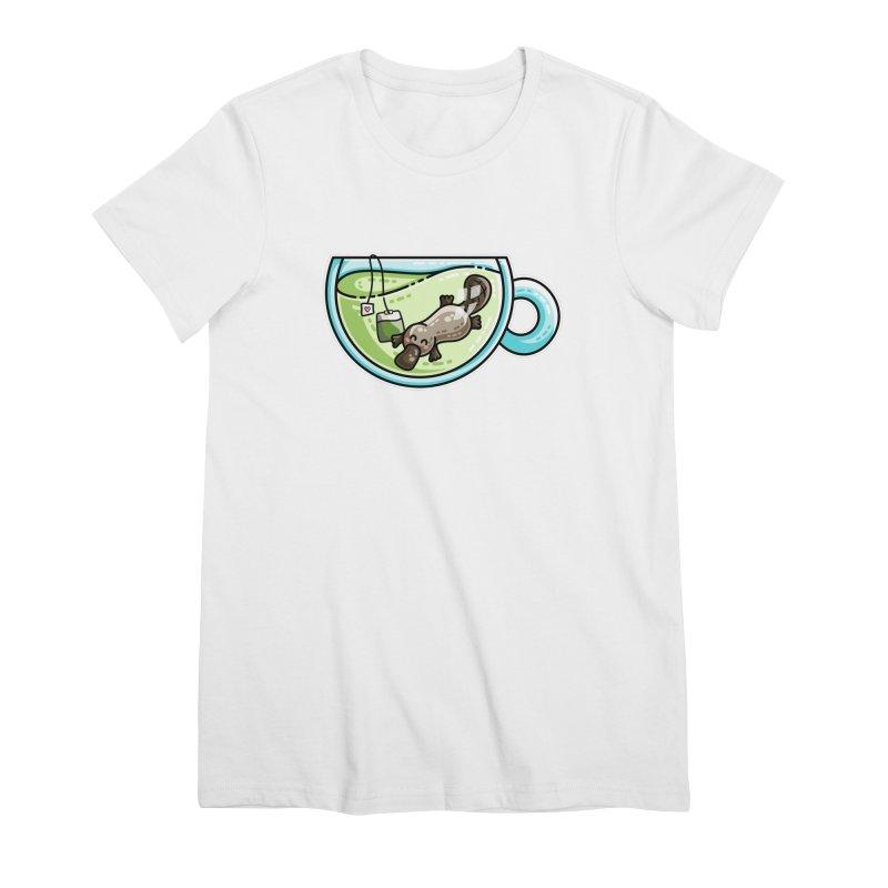 Pla-tea-pus Kawaii Cute Platypus Tea Pun Women's Premium T-Shirt by Flaming Imp's Artist Shop
