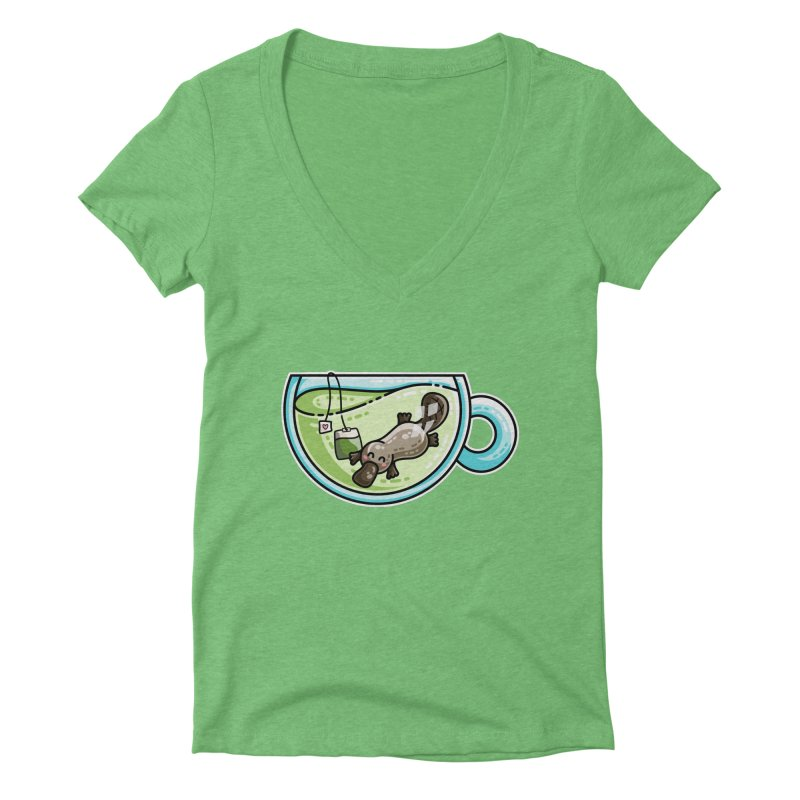 Pla-tea-pus Kawaii Cute Platypus Tea Pun Women's Deep V-Neck V-Neck by Flaming Imp's Artist Shop