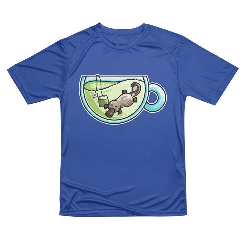 Pla-tea-pus Kawaii Cute Platypus Tea Pun Women's Performance Unisex T-Shirt by Flaming Imp's Artist Shop