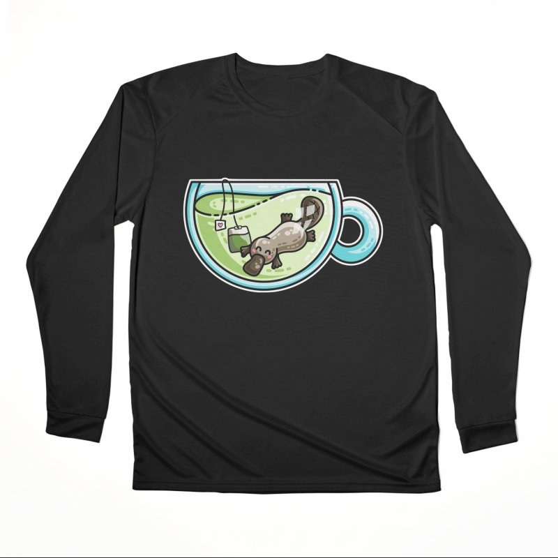 Pla-tea-pus Kawaii Cute Platypus Tea Pun Women's Performance Unisex Longsleeve T-Shirt by Flaming Imp's Artist Shop