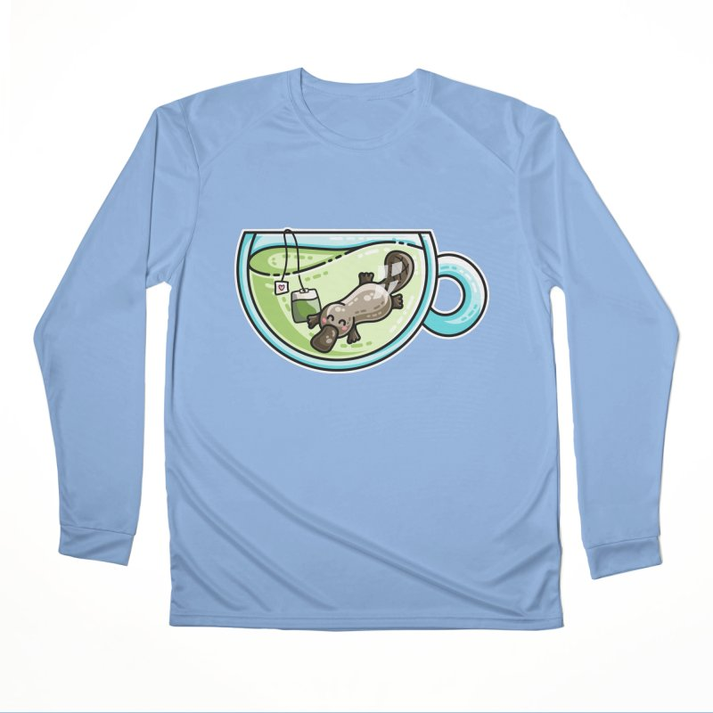 Pla-tea-pus Kawaii Cute Platypus Tea Pun Women's Longsleeve T-Shirt by Flaming Imp's Artist Shop