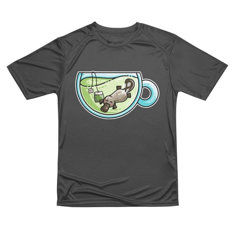 Pla-tea-pus Kawaii Cute Platypus Tea Pun Men's Performance T-Shirt by Flaming Imp's Artist Shop
