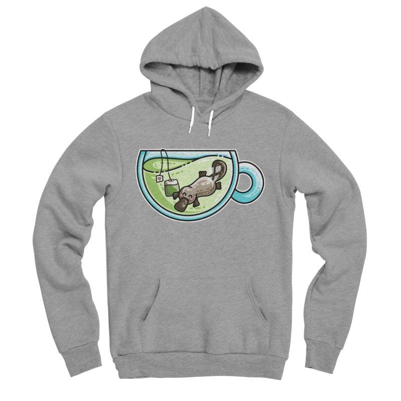 Pla-tea-pus Kawaii Cute Platypus Tea Pun Men's Sponge Fleece Pullover Hoody by Flaming Imp's Artist Shop