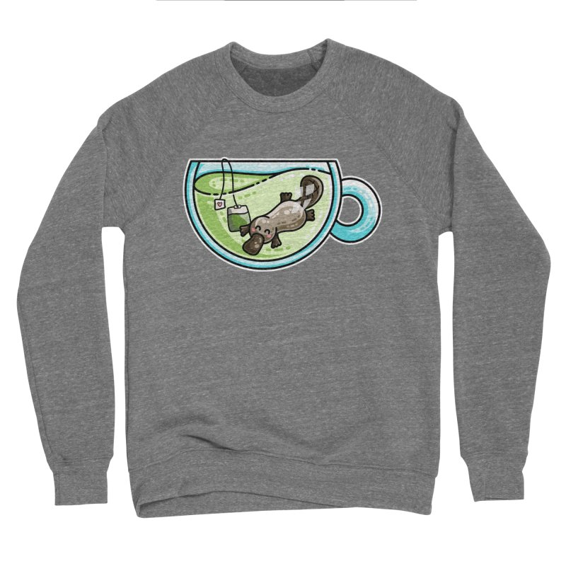 Pla-tea-pus Kawaii Cute Platypus Tea Pun Women's Sponge Fleece Sweatshirt by Flaming Imp's Artist Shop