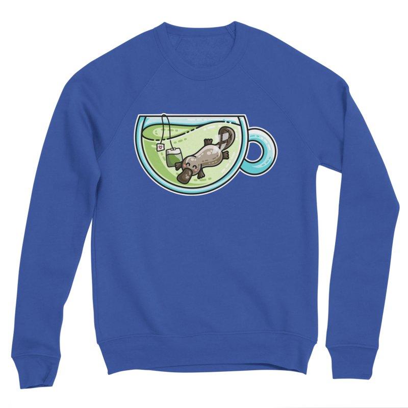 Pla-tea-pus Kawaii Cute Platypus Tea Pun Men's Sponge Fleece Sweatshirt by Flaming Imp's Artist Shop