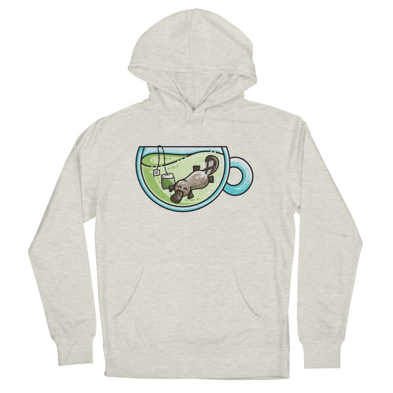 Pla-tea-pus Kawaii Cute Platypus Tea Pun Men's French Terry Pullover Hoody by Flaming Imp's Artist Shop