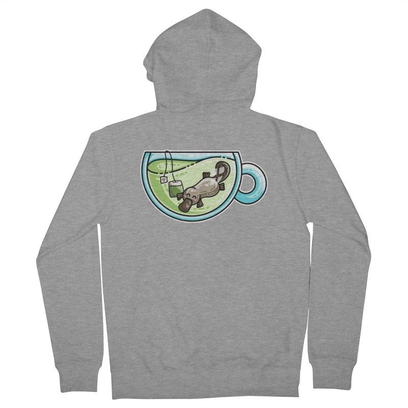 Pla-tea-pus Kawaii Cute Platypus Tea Pun Men's French Terry Zip-Up Hoody by Flaming Imp's Artist Shop