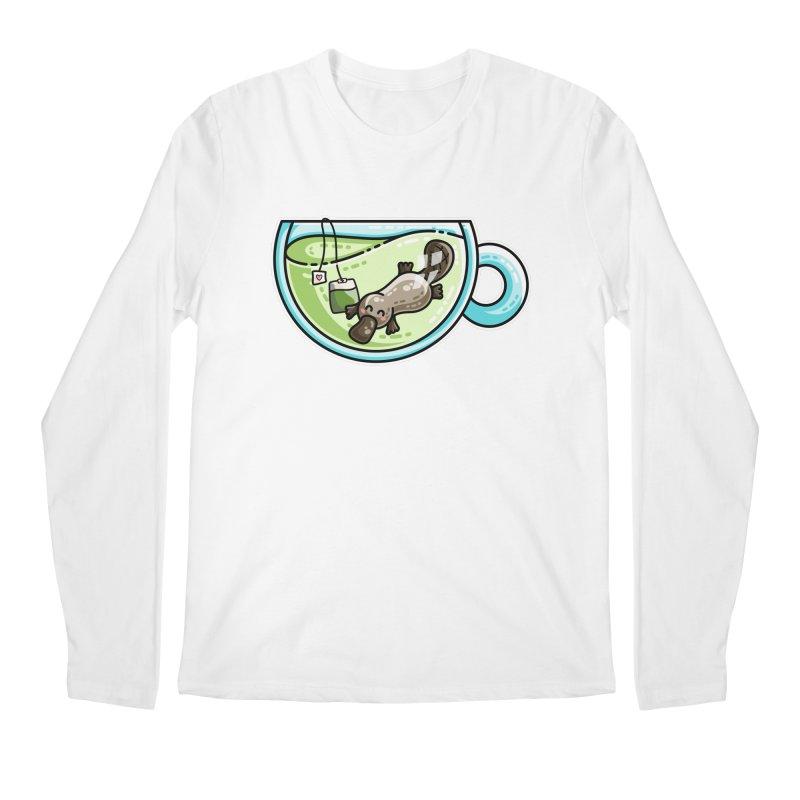 Pla-tea-pus Kawaii Cute Platypus Tea Pun Men's Regular Longsleeve T-Shirt by Flaming Imp's Artist Shop