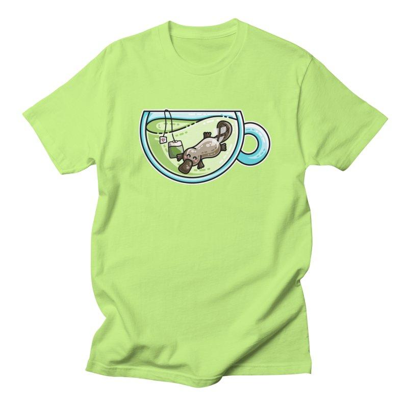 Pla-tea-pus Kawaii Cute Platypus Tea Pun Women's Regular Unisex T-Shirt by Flaming Imp's Artist Shop