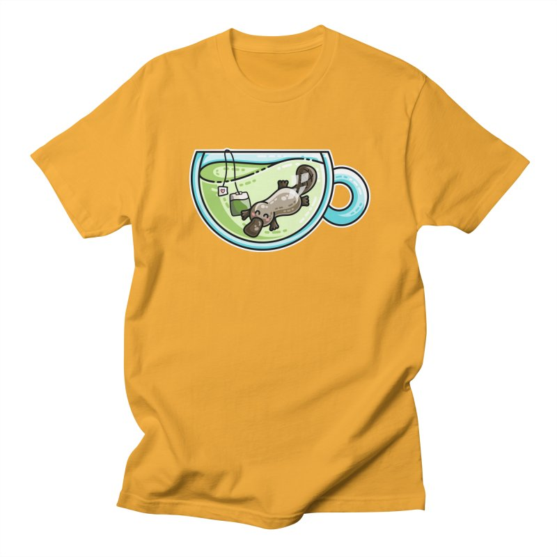 Pla-tea-pus Kawaii Cute Platypus Tea Pun Men's Regular T-Shirt by Flaming Imp's Artist Shop