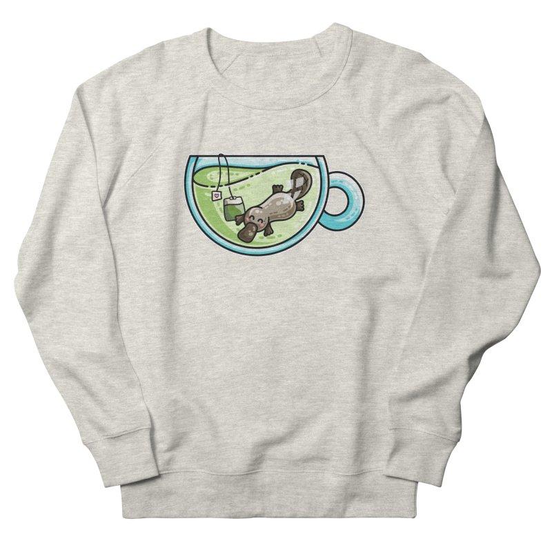 Pla-tea-pus Kawaii Cute Platypus Tea Pun Men's French Terry Sweatshirt by Flaming Imp's Artist Shop