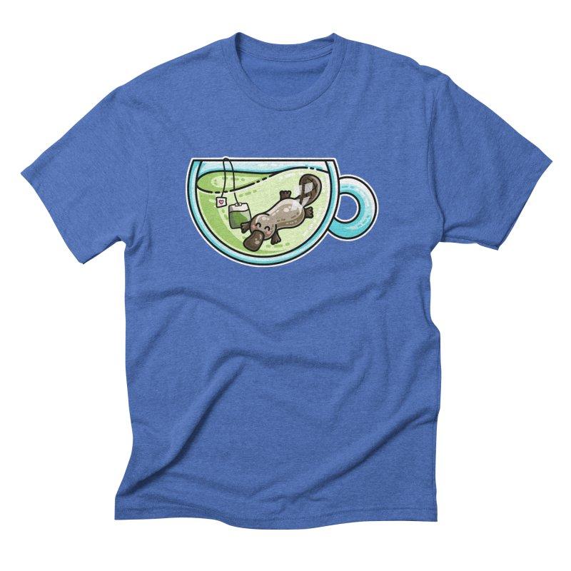Pla-tea-pus Kawaii Cute Platypus Tea Pun Men's Triblend T-Shirt by Flaming Imp's Artist Shop
