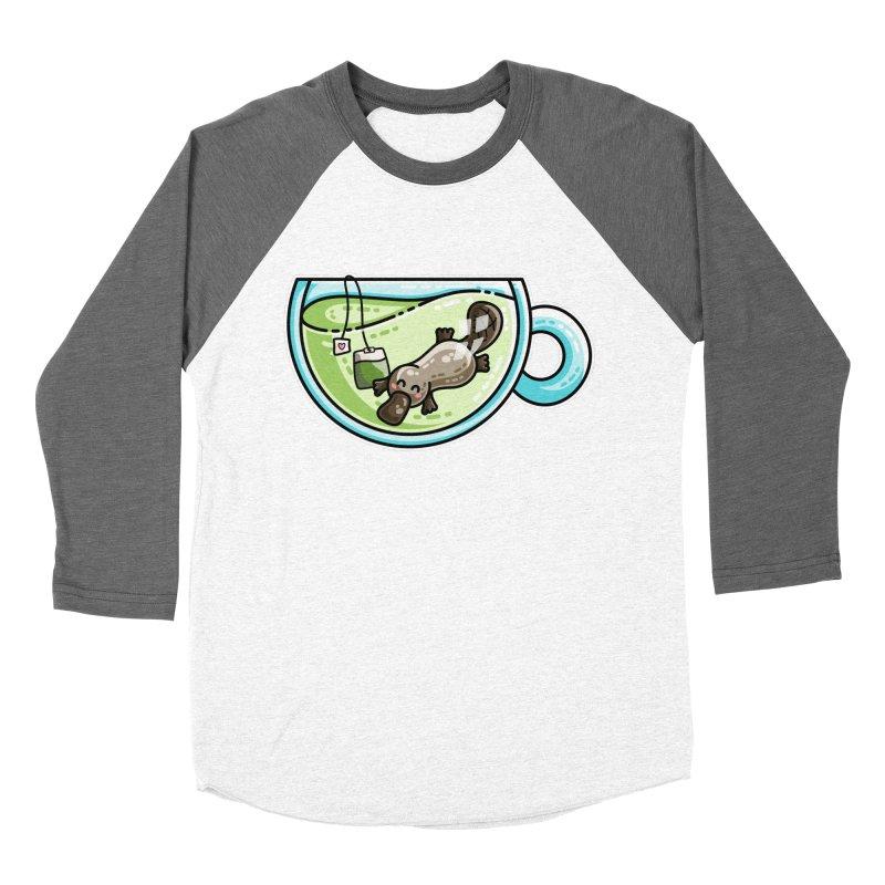 Pla-tea-pus Kawaii Cute Platypus Tea Pun Men's Baseball Triblend Longsleeve T-Shirt by Flaming Imp's Artist Shop