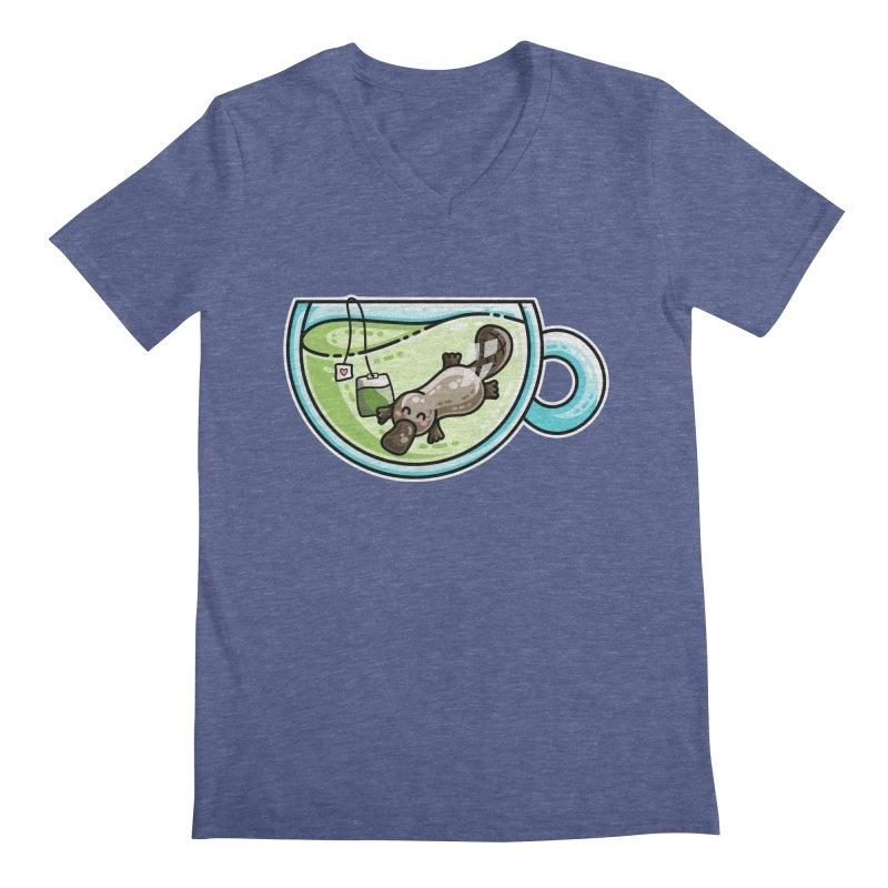 Pla-tea-pus Kawaii Cute Platypus Tea Pun Men's Regular V-Neck by Flaming Imp's Artist Shop
