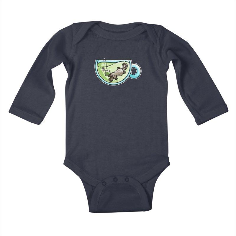 Pla-tea-pus Kawaii Cute Platypus Tea Pun Kids Baby Longsleeve Bodysuit by Flaming Imp's Artist Shop