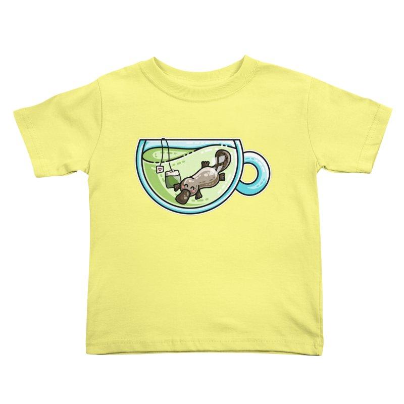 Pla-tea-pus Kawaii Cute Platypus Tea Pun Kids Toddler T-Shirt by Flaming Imp's Artist Shop