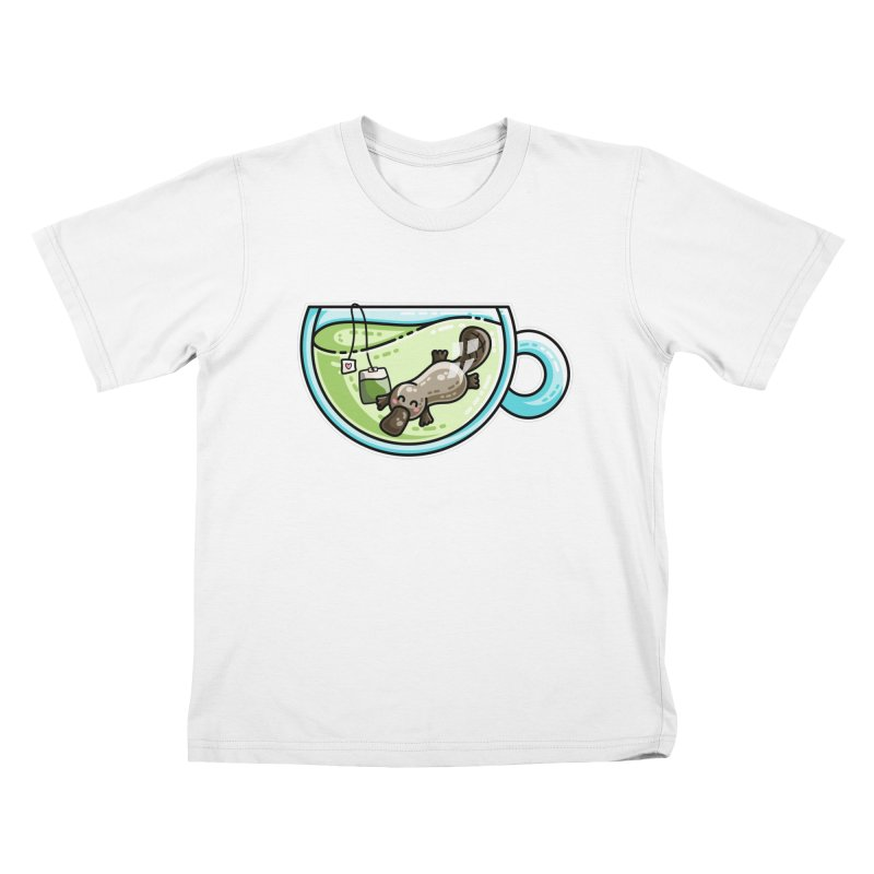 Pla-tea-pus Kawaii Cute Platypus Tea Pun Kids T-Shirt by Flaming Imp's Artist Shop
