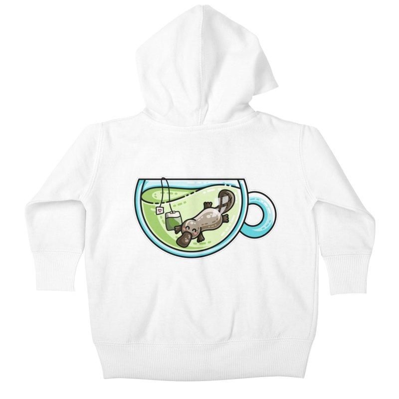 Pla-tea-pus Kawaii Cute Platypus Tea Pun Kids Baby Zip-Up Hoody by Flaming Imp's Artist Shop