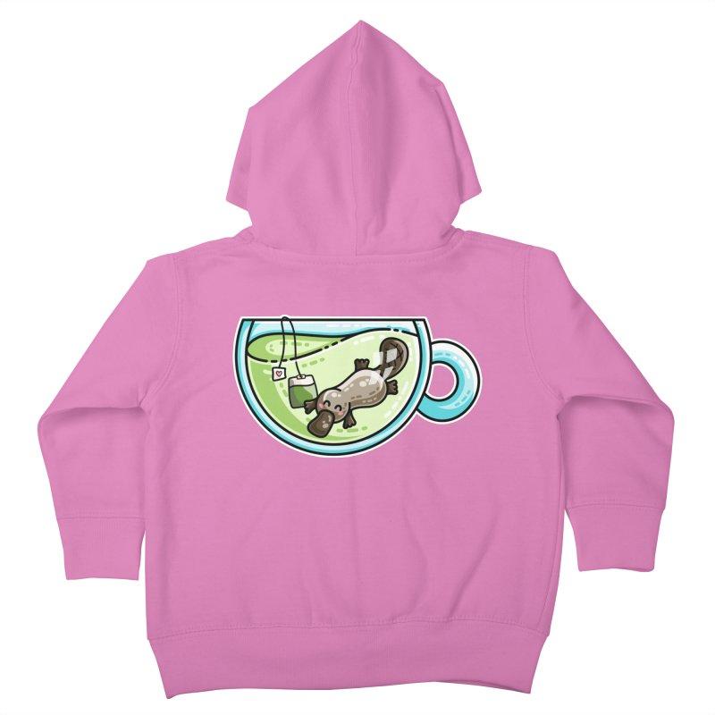 Pla-tea-pus Kawaii Cute Platypus Tea Pun Kids Toddler Zip-Up Hoody by Flaming Imp's Artist Shop