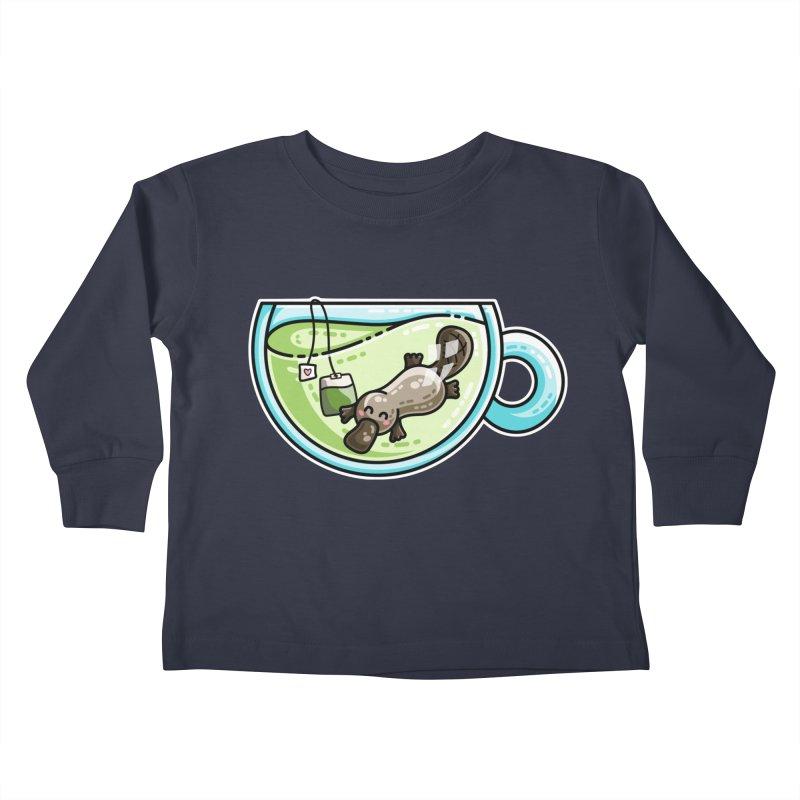 Pla-tea-pus Kawaii Cute Platypus Tea Pun Kids Toddler Longsleeve T-Shirt by Flaming Imp's Artist Shop