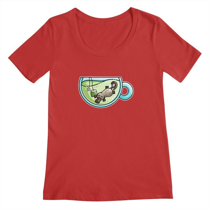 Pla-tea-pus Kawaii Cute Platypus Tea Pun Women's Regular Scoop Neck by Flaming Imp's Artist Shop